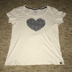 Life is Good Let it Be white and grey heart tee